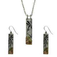 Necklace and Earrings Set - Three Metal Set with Silver Chain