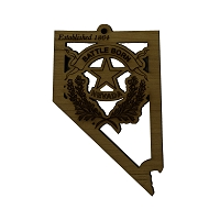 Ornament - Battle Born Logo - Nevada Shape  - Wood