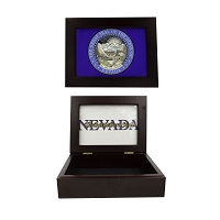 Mahogany Memory Box with the Nevada State Seal and The Battle Born State Logo