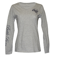 T-Shirt - Ladies V Neck Home Means Nevada Logo - Battle Born on Long Sleeve - Ash