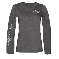 T-Shirt - Ladies V Neck Home Means Nevada Logo - Battle Born on Long Sleeve - Charcoal