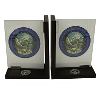 Glass Bookends with State Seal Framed