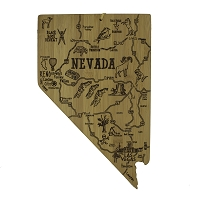 Nevada State Shaped Destinations Bamboo Cutting Board