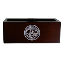 Business Card Holder - Expresso Finished Wooden with the Nevada State Seal which is Silver Fill