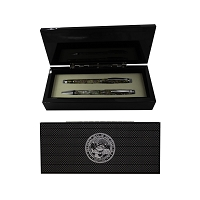 Ink Pen Set - Mother of Pearl Ball/Roller with Nevada state Seal - Silver Fill
