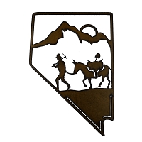 Nevada State Shape Iron Sign with a Miner and Burrow