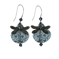 Earrings - Dragonfly on Shell - Blue
