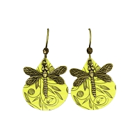 Earrings - Dragonfly on Shell - Yellow