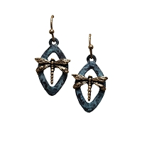 Earrings - Dragonfly Patina Diamond Shaped
