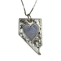 Necklace - Nevada Shaped Silver Tooled with Heart