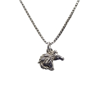 Necklace - Silver Double Horse Head with 18