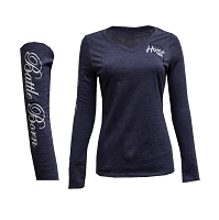 T-Shirt - Ladies V Neck Home Means Nevada Logo - Battle Born on Long Sleeve -Navy