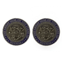 Cufflinks - Nevada State Seal - Blue and Silver