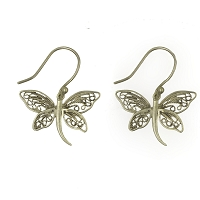 Earrings - Delicate Silver Dragonfly Earrings