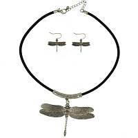 Necklace and Earrings Set - Silver Dragonfly with Black 17