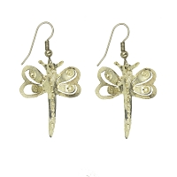 Earrings - Silver Dragonfly