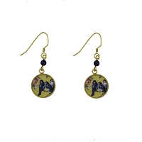 Earrings - Blue Birds and Roses