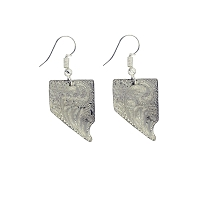 Earrings - Nevada Shaped Tooled Sterling Silver - Hand Made in Nevada