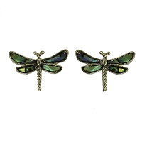 Earrings - Silver Dragonfly Earrings with Shell Inlays