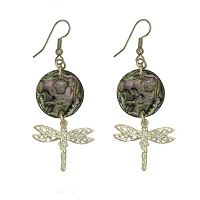 Earrings - Silver Plated Dragonfly with Abalone Shell Disc