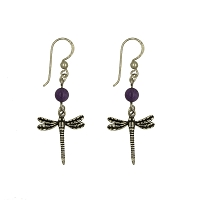 Earrings - Dragonfly with Amethyst Bead Wire