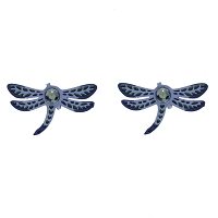 Earrings - Blue Dragonfly Earrings with Jewel Posts