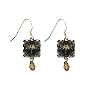 Earrings - Damselfly Mutiple Color Square with Gold Bead