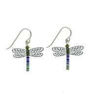 Earrings - Teal Dragonfly Earrings with Multicolored Beaded Tails