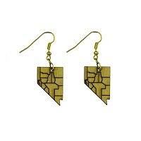 Earrings - Nevada Counties in Light Wood