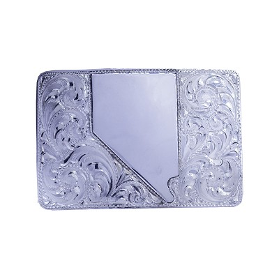 Belt Buckle - Hand Tooled Sterling Silver Belt Buckle with the Shape of Nevada