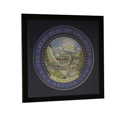 "Nevada State Seal 18"" Square in Black Wood Frame - Matted"