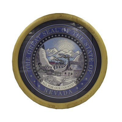 "Nevada State Seal 18"" Round - Light Oak Frame Matted"