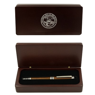 Pewter and Rosewood  Ink Pen in Rosewood Case and a Silver Nevada State Seal on the Lid