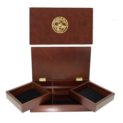 Wooden Box with Nevada State Seal on Top and Two Swing Out Trays