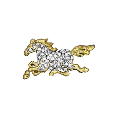 Lapel Pin - Golden Horse with Clear Rhinestone Body Pin