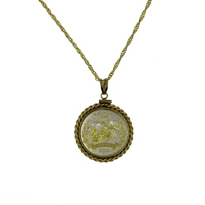 "Necklace - Nevada State Quarter with Gold Rope Pendant and a 20"" Gold Filled Chain"
