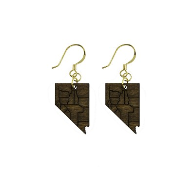 Earrings - Nevada Counties in Dark Wood