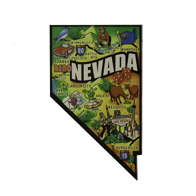 Magnet - Shape of Nevada with Location Names Refrigerator Magnet