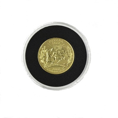 Nevada State Quarter with 24K Gold Plating in a Clear Plastic Case