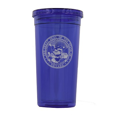 Blue Tumbler with Nevada State Seal - Plastic - 24 oz.