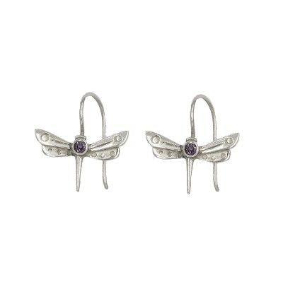 Earrings - Patterned Silver Dragonfly Earrings with  Iolite Stones