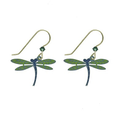 Earrings - Dragonfly Blue Turquois Wires