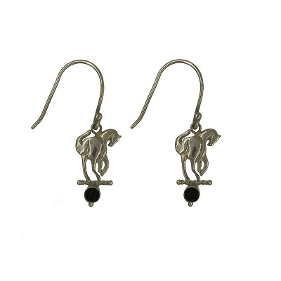 Earrings - Silver Striding Horse Earrings with Onyx Stones