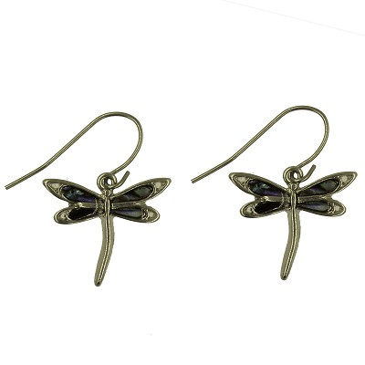 Earrings - Elegant Silver Dragonfly Earrings with Shell Inlays