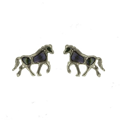 Earrings - Silver Horse Earrings with Shell Inlays
