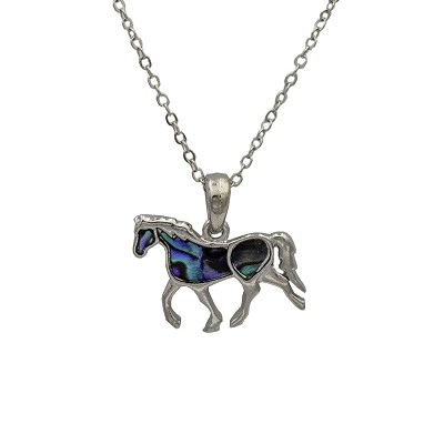 "Necklace - Silver Horse Pendant with Shell Inlays and 18"" Silver Chain"