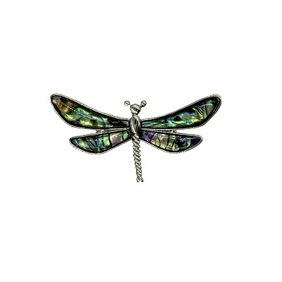 Pin - Dragonfly Brooch with Abalone Shell Inlays