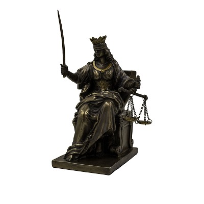 Lady Justice - Seated Crowned Bronze Lady Justice