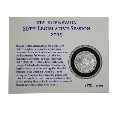 Medallion - 2019 Silver Nevada Legislative Medallion - Half Ounce 1st Series - Minted at the Carson City Mint