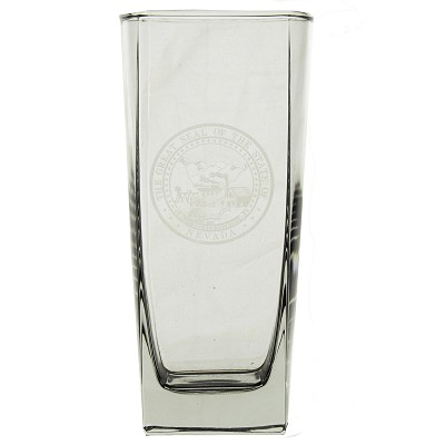 Square Beverage Glass with Nevada State Seal - 16 oz.